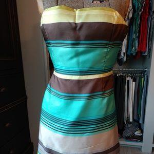 Banana Republic 100% Silk Striped Strapless Dress